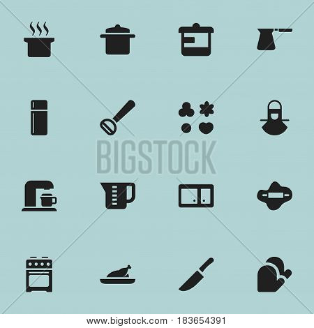 Set Of 16 Editable Meal Icons. Includes Symbols Such As Dough, Rocker Blade, Soup Pot And More. Can Be Used For Web, Mobile, UI And Infographic Design.