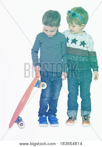 Boys playing skateboard having fun together on white background