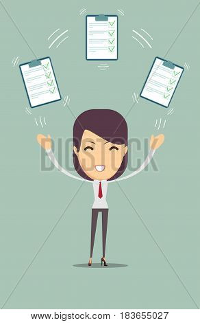 Approved Agreement Allowed Validation Concept. Woman with approved documents. Stock flat vector illustration.