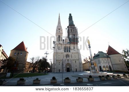 ZAGREB, CROATIA - OCTOBER 03: Zagreb Cathedral dedicated to the Assumption of Mary in Zagreb, Croatia on October 03, 2013.