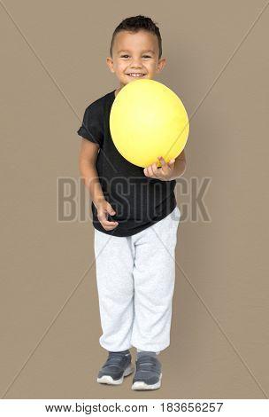 Little Boy Holding Balloon Party Studio Portrait