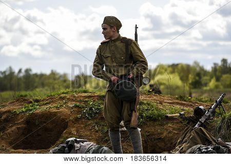 Rosowek Poland april 23 2017: Historical reconstruction battle for Stettin in 1945 Red army against Wehrmacht in Rosowek.
