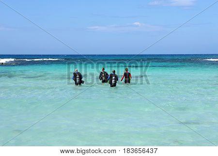 Divers. Nissi-Beach. Cyprus. ocean sea diver diving