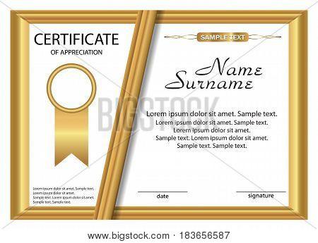 Template certificate of appreciation. Gold design. Vector illustration.