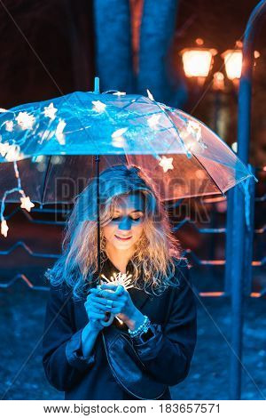Under the light of an umbrella on a night street