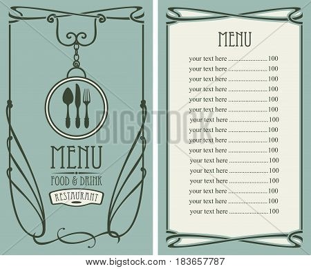 template vector menu for restaurant with price list flatware and curlicues in baroque style on green background