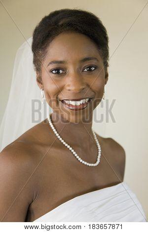 African bride smiling
