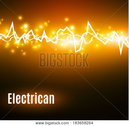 Energy shock effect with many glowing particles. Electric discharge on yellow background. Vector illustration
