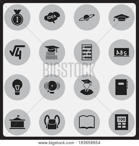 Set Of 16 Editable School Icons. Includes Symbols Such As Schoolbag, Diplomaed Male, Workbook And More. Can Be Used For Web, Mobile, UI And Infographic Design.