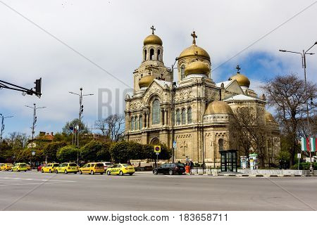 Varna Bulgaria April 26 2017: The Cathedral of the Assumption also known as the Dormition of the Theotokos Cathedral the main Orthodox Cathedral of Varna city Bulgaria. Was built in 1886.