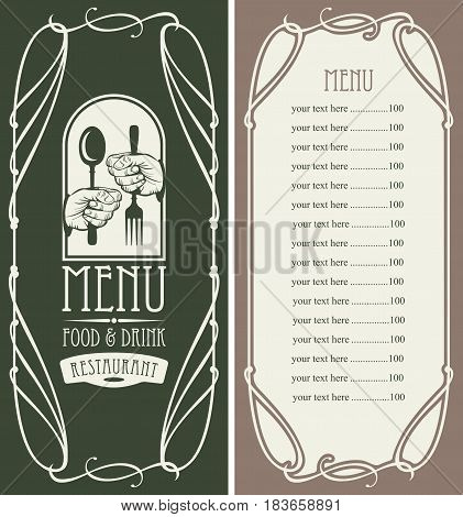 template vector menu for restaurant with price list cutlery in hands and curlicues in baroque style on dark background