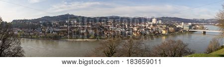 Panoramic views of the city of Linz in Austria