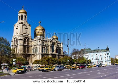 Varna, Bulgaria, April 26, 2017: The Cathedral of the Assumption also known as the Dormition of the Theotokos Cathedral , the main Orthodox Cathedral of Varna city, Bulgaria. Was built in 1886.