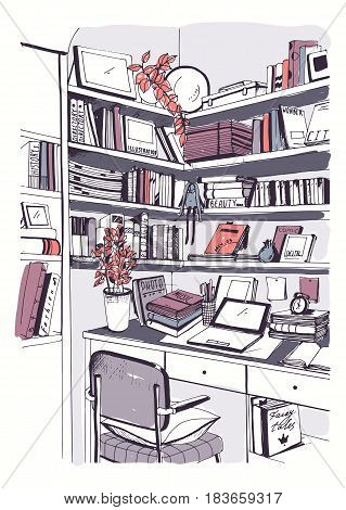 Modern interior home library, bookshelves, workplace hand drawn colorful sketch illustration