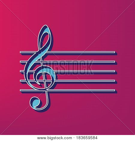 Music violin clef sign. G-clef. Vector. Blue 3d printed icon on magenta background.
