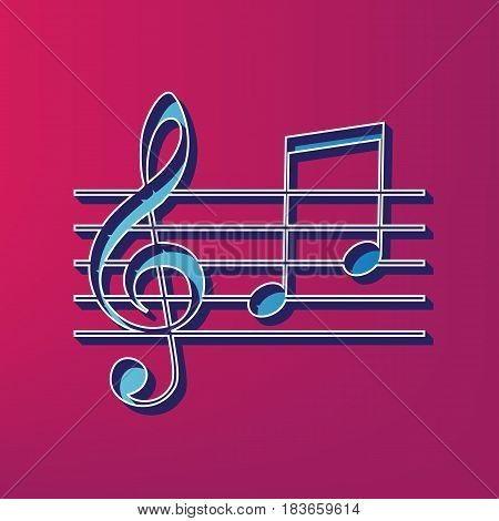 Music violin clef sign. G-clef and notes G, H. Vector. Blue 3d printed icon on magenta background.
