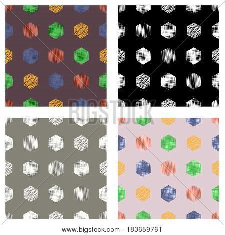 Set Of Seamless Vector Geometrical Patterns With Rectangles. Pastel Endless Background With Hand Dra