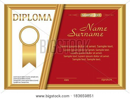Template diploma or certificate. Gold and red design. Vector illustration.