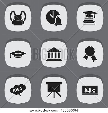 Set Of 9 Editable Graduation Icons. Includes Symbols Such As Mind, Schoolbag, School Bell And More. Can Be Used For Web, Mobile, UI And Infographic Design.