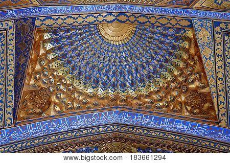 SAMARKAND, UZBEKISTAN - MAY 04, 2014 Golden interior of Aksaray mausoleum