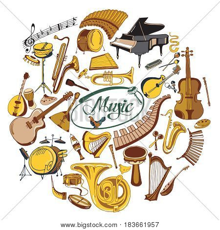 Colorful drawing music icons round concept with musical notes and wind keyboard string percussion instruments isolated vector illustration