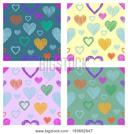 Set Of Seamless Vector Patterns With Hearts. Endless Symmetrical Backgrounds With Hand Drawn Texture
