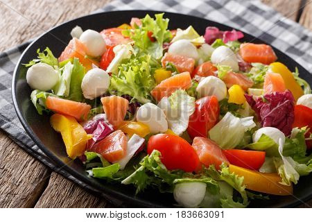 Hearty Salad With Salmon, Mozzarella And Fresh Vegetables Close-up On A Plate. Horizontal