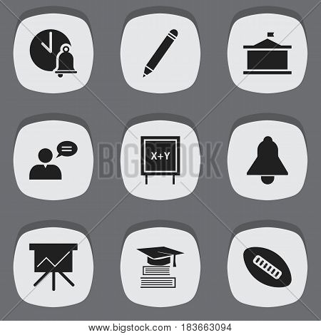 Set Of 9 Editable University Icons. Includes Symbols Such As Pencil, Thinking Man, Blackboard And More. Can Be Used For Web, Mobile, UI And Infographic Design.