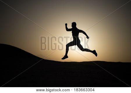 Running Man On Mountain Nature Landscape On Sky Background