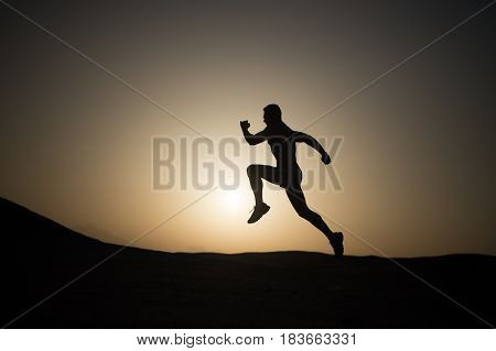 Man Running Silhouette At Sunset, Young Caucasian Run In Mountain