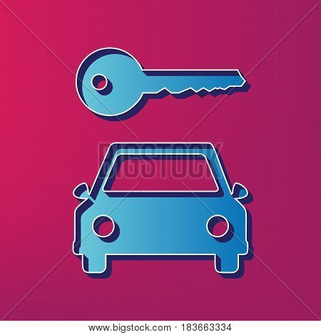 Car key simplistic sign. Vector. Blue 3d printed icon on magenta background.