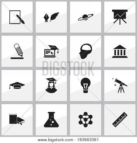 Set Of 16 Editable School Icons. Includes Symbols Such As Graduate, Molecule, Astrology And More. Can Be Used For Web, Mobile, UI And Infographic Design.