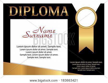 Diploma or certificate. Elegant gold and black design. Vector illustration.