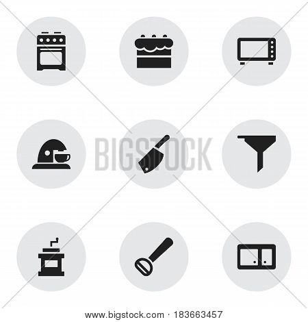 Set Of 9 Editable Meal Icons. Includes Symbols Such As Oven, Stove, Backsword And More. Can Be Used For Web, Mobile, UI And Infographic Design.