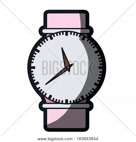 realistic color graphic of female wristwatch and thick contour vector illustration