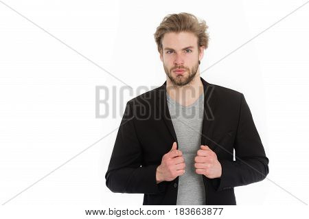Businessman Or Young Man Wearing Grey Shirt And Black Jacket