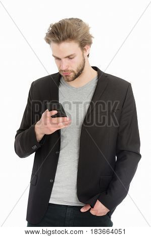 Handsome Bearded Guy Or Businessman With Mobile Phone