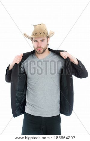 American Cowboy Hat In Hand Of Businessman