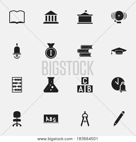 Set Of 16 Editable School Icons. Includes Symbols Such As First Place, School Board, Arithmetic And More. Can Be Used For Web, Mobile, UI And Infographic Design.