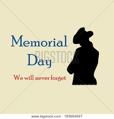 Illustration of memorial day we will never forget text on the occasion of US memorial day
