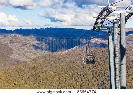 People Sitting On Kosciuszko Express Chairlift In Front Of Beautiful View.