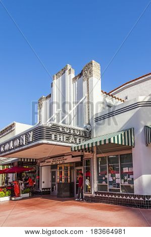 Famous Colony Art Deco Theater In Lincoln Road, South Beach, Miami