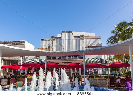 Famous Colony Art Deco Theater In Lincoln Road, South Beach, Miami