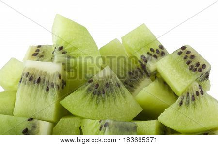 Closeup of a pile of diced kiwifruit