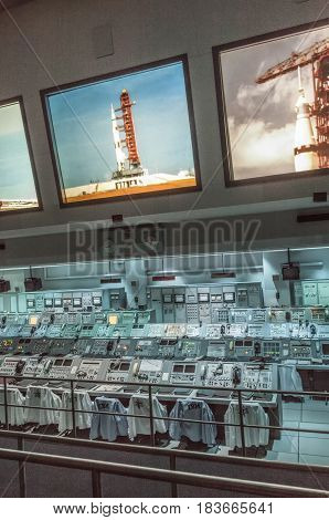 Apollo 1960S Mission Control Equipment On Display In Kennedy Space Cente