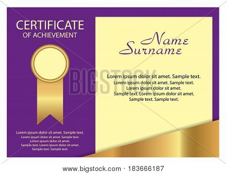 Template certificate of achievement. Elegant gold and purple design. Vector illustration.