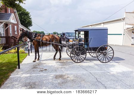 A Horse Pulling Cart Of Amish People Parks At A Parking Lot