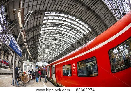 People Enter The Train At Frankfurt Main Train Statio