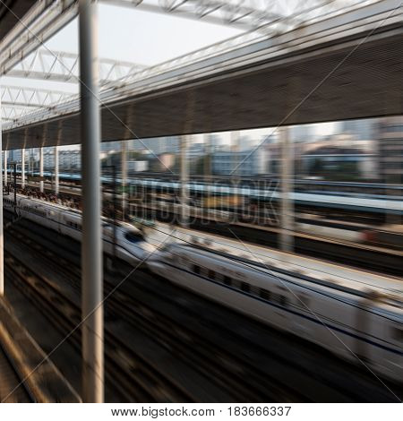 Railroad Platform from modern railway station in city of China.