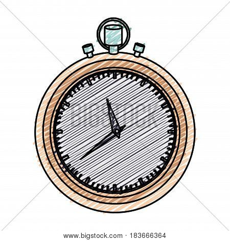 color pencil graphic of stopwatch with thick contour vector illustration